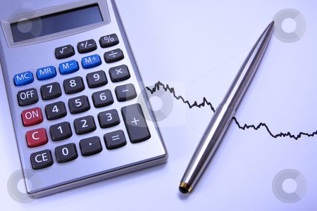 Calculator and pen on a chart stock photo, Electronic calculator and pen on a business chart. Close up with blue filter by Gabriele Mesaglio