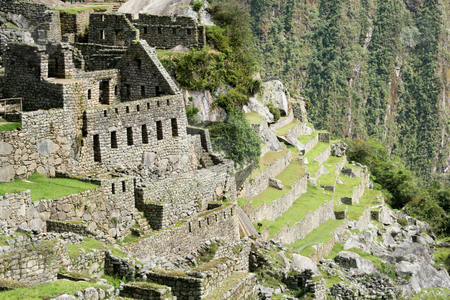 The lost city of Machu Picchu stock photo, The residential sector of the lost city of Machu Pichu in the Peruvian Andes by Philip Muller