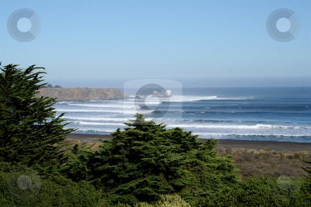 Lineup shot of Punta de Lobos, near Pichilemu, Chile stock photo, Lineup shot of Punta de Lobos, best pointbreak in Chile by Philip Muller