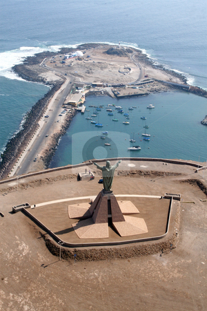 Christ overlooking Arica's bay in Chile stock photo, Aereal view of Arica and it's huge sculpture of Christ overlooking the Bay and the ex-island by Philip Muller