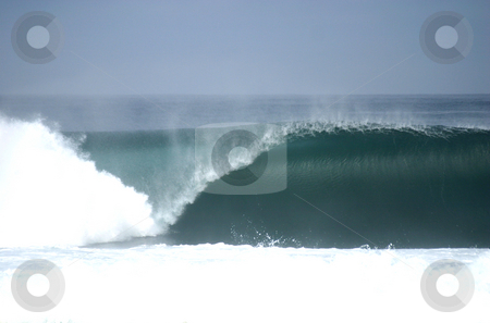 Perfect empty wave stock photo, Perfect empty wave breaking in Central Chile by Philip Muller