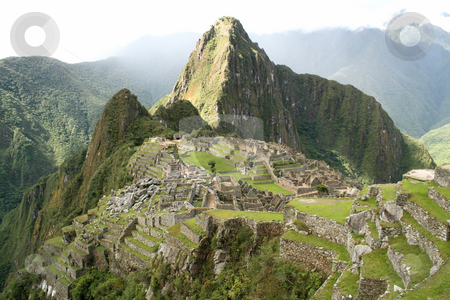 The lost city of Machu Picchu stock photo, Landscape view of the ancient Incan Lost City of Machu Picchu by Philip Muller
