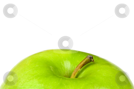 Green Apple Top stock photo, The top of a green apple, with copy space above by Patrick Noonan