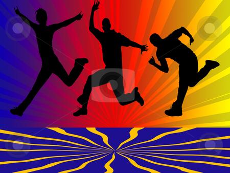 Jumping boys stock photo, Three jumping boys by Minka Ruskova-Stefanova