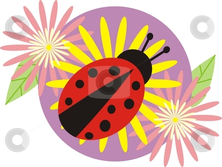 Ladybird stock photo, Adybird and flowers by Minka Ruskova-Stefanova