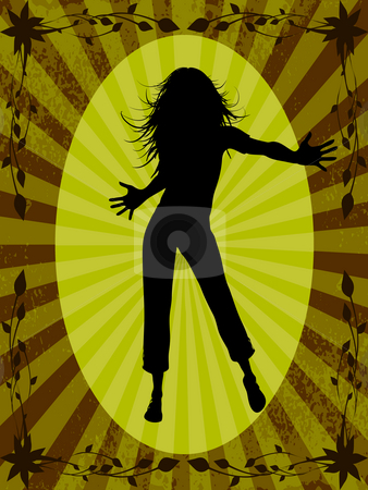 Dancing woman stock photo, Silhouette of dancing woman on background with frame by Minka Ruskova-Stefanova