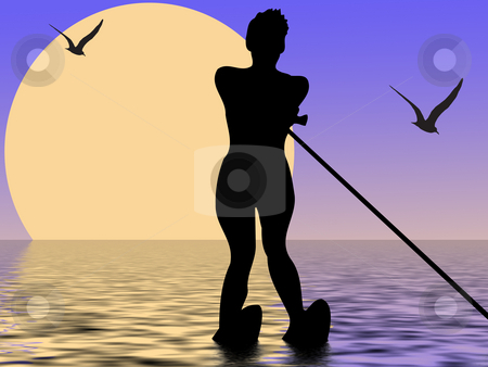 Water-skiing stock photo, Silhouette of water-skiing girl with sun and birds by Minka Ruskova-Stefanova