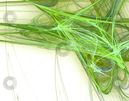 Green disorder stock photo, Green disorder on white - abstract background illustration by J?