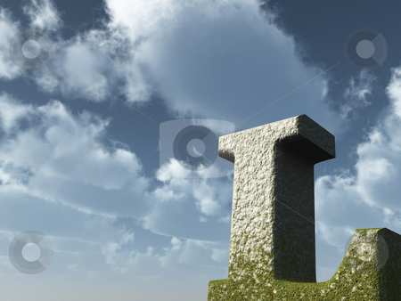Big L stock photo, Letter L rock in front of blue sky - 3d illustration by J?