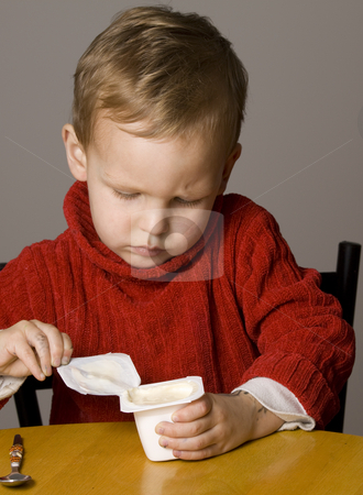 Little Boy opening a yogurt stock photo, Little Boy opening a yogurt by Jandrie Lombard