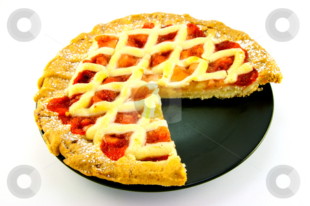 Apple and Strawberry Pie with a Slice Missing stock photo, Whole apple and strawberry pie on a black plate with a slice missing on a white background by Keith Wilson