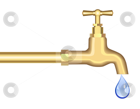 Faucet stock vector clipart, Faucet with a last drop by Laurent Renault