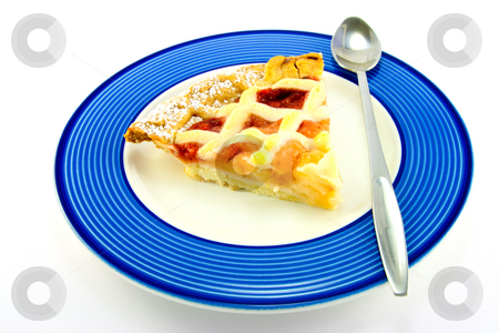 Slice of Apple and Strawberry Pie stock photo, Slice of strawberry and apple pie on a blue plate with a spoon on a white background by Keith Wilson