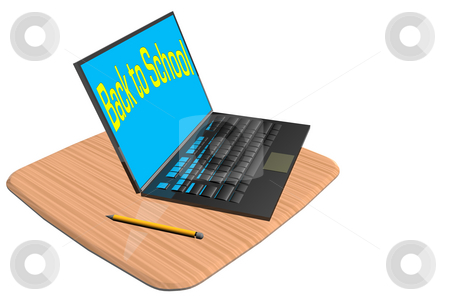 Back To School2 stock photo, Laptop computer on wood desktop with pencil by Ira J Lyles Jr