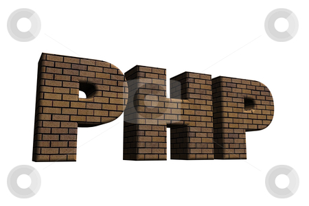 Php stock photo, Bricked letters PHP on white background - 3d illustration by J?