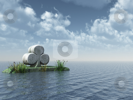 Cloverleaf stock photo, Stone cloverleaf at the ocean - 3d illustration by J?