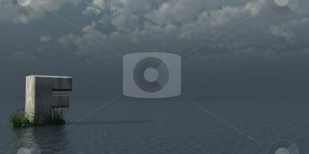 Big F stock photo, Letter F rock in water landscape - 3d illustration by J?