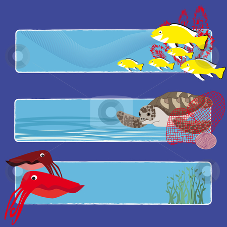 Fish banners 4 no text stock vector clipart, Three tropical fish banners no text indicate sea world creatures by Karin Claus