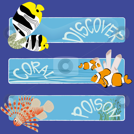 Fish banners 3 stock vector clipart, Three tropical fish banners no text indicate sea world creatures by Karin Claus