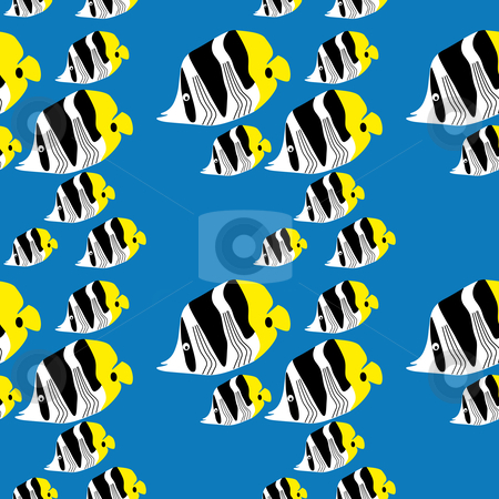 Seamless butterflyfish pattern stock vector clipart, Seamless butterflyfish pattern on a bright blue background by Karin Claus