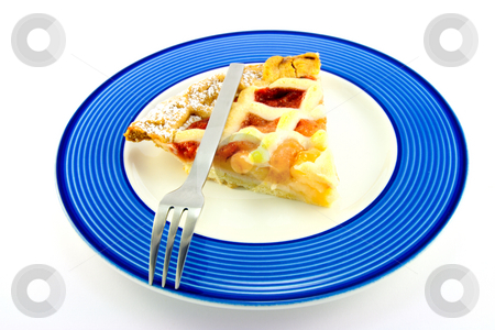 Slice of Apple and Strawberry Pie stock photo, Slice of strawberry and apple pie on a blue plate with a small fork on a white background by Keith Wilson