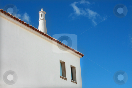 House stock photo, White house chimney and blue sky by Marc Torrell