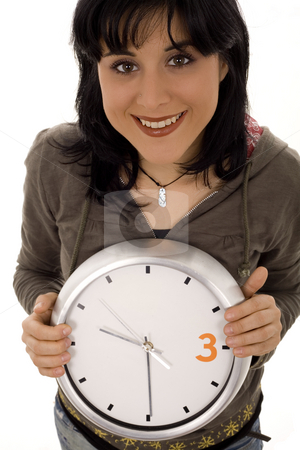 Time stock photo, Woman and watch withe isolate by Marc Torrell