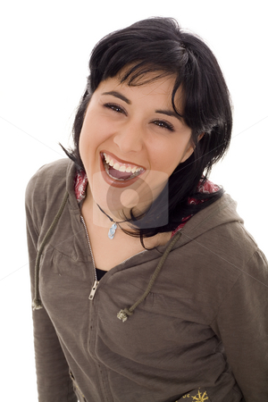 Woman stock photo, Happy woman laughing withe isolate by Marc Torrell