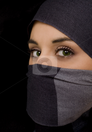 Ethnic woman stock photo, Ethnic woman on black isolate portrait by Marc Torrell