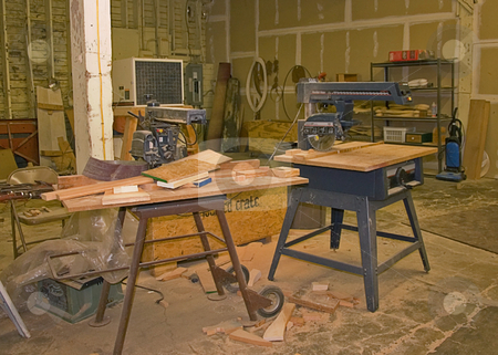 Woodshop stock photo, This room is a fully operational wood working shop complete with wood, tools, and other equipment. by Valerie Garner