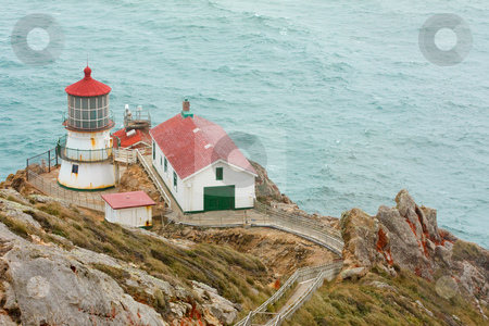 Point Reyes lighthouse, California stock photo, A steep ramp leads down to the Point Reyes National seashore lighthouse and outbuildings perched on cliffs above the Pacific Ocean. by Hieng Ling Tie