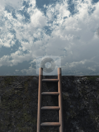 Escape stock photo, Ladder on wall in front of cloudy sky - 3d illustration by J?