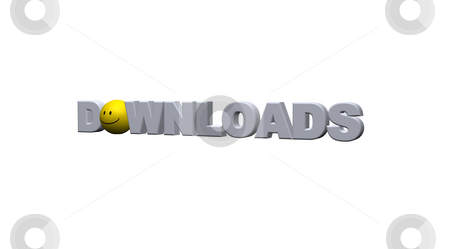 Downloads stock photo, The word downloads with smiley on white background - 3d illustration by J?