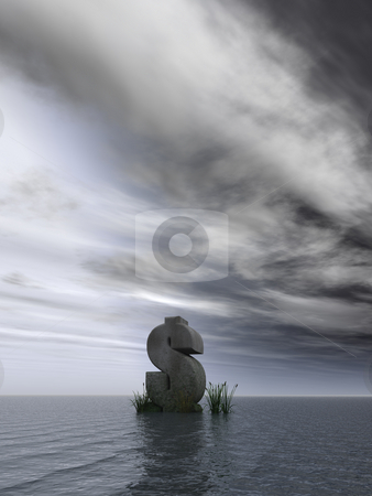Dollar monument stock photo, Dollar rock in dark water landscape - 3d illustration by J?