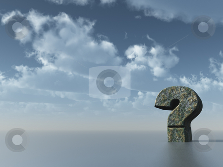 Quest stock photo, Question mark in front of cloudy sky - 3d illustration by J?