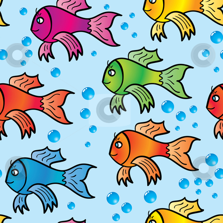Abstract background of multicolor fishs. stock vector clipart, Abstract background of multicolor fishs. Seamless. Vector illustration. by Andrey Khritin