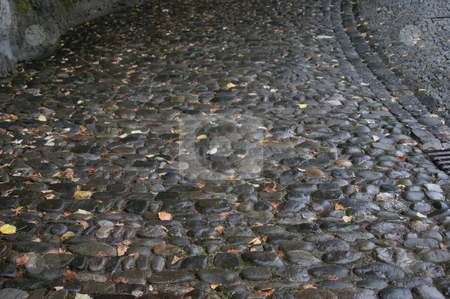 Cobblestones at the medieval city gate in Bregenz stock photo, Mittelalterliche Pflastersteine am Stadtsteig in Bregenz / Cobblestones at the medieval city gate in Bregenz by Thomas K?