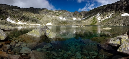 Moutain lake with pure water panorama stock photo, Mountain lake with pure water, view under surface by Juraj Kovacik
