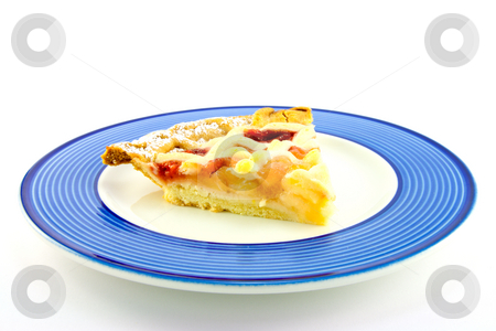 Slice of Apple and Strawberry Pie stock photo, Slice of apple and strawberry pie on a blue plate on a white background by Keith Wilson