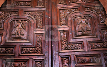 Dark Brown Wooden Church Door San Miguel Mexico stock photo, Dark Brown Wooden Church Door, Parroquia Archangel Church San Migeuel de Allende, Mexico by William Perry