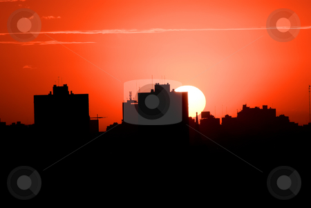Red Sunset in the City, (imgp0985) stock photo, Red Sunset on the Cityscape by Germán Ariel Berra