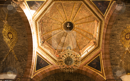 Orange Brick Dome Parroquia Archangel Church San Miguel Mexico stock photo, Orange Brick Dome Inside Parroquia, Archangel Church, San Miguel de Allende, Mexico by William Perry
