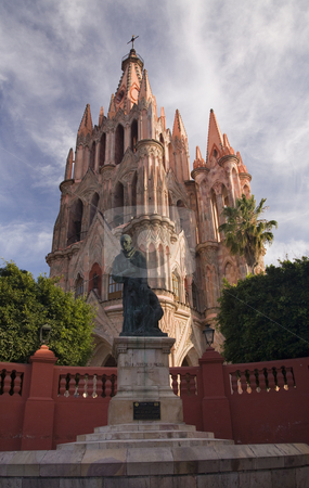 Statue of Friar Juan San Miguel, Parroquia, Archangel Church, Sa stock photo, Statue of Friar Juan de San Miguel in front of Parroquia Church, San Miguel De Allende, Mexico by William Perry