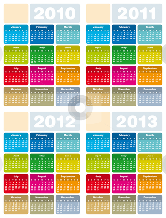 Calendar for 2010, 2011, 2012 and 2013 stock vector clipart, Colorful Calendars for years 2010, 2011, 2012 and 2013 in vector format by Germán Ariel Berra
