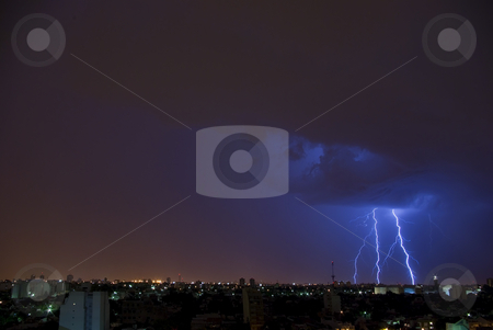 Lightning bolts (IMGP2625) stock photo, Electrical Storm over the City by Germán Ariel Berra