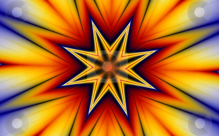 Star and explosion (fractal30e) stock photo, A Star and an explosion of colors. (generated from a fractal design) by Germán Ariel Berra