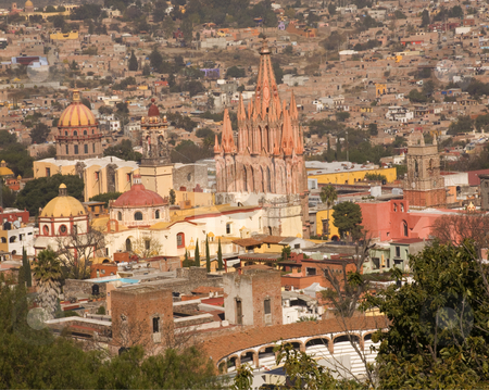 San Miguel Overlook Parroquia Archangel Church  stock photo, Overlook San Miguel de Allende, Mexico, Parroquia, Archangel Church, Bull Fight Ring, Various Churches, Domes and Houses, No Trademarks by William Perry