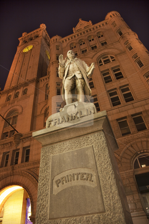 Benjamin Franklin Statue Old Post Office Building at Night with  stock photo, Benjamin Franklin Statue Old Post Office Building Pennsylvania Ave at Night with Stars Washington DC by William Perry