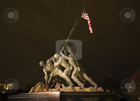 The Marine Corps War Memorial Washington DC stock photo, The Marine Corps War Memorial Shows the Raising of the Flag at Iwo Jima in World War II  Washington DC  Statue finished in 1954 by William Perry