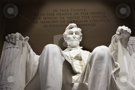 White Lincoln Statue Close Up Memorial Washington DC stock photo, White Lincoln Statue Close Up Memorial Washington DC by William Perry